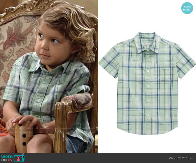 Nordstrom Poplin Button-Up Shirt in Green Pale Jade Plaid worn by Harrison Locke on The Young and the Restless