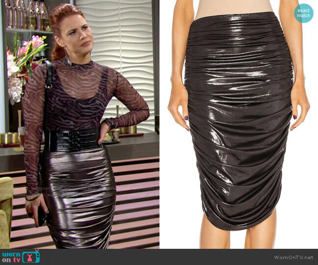 Norma Kamali Shirred To Knee Skirt worn by Sally Spectra (Courtney Hope) on The Young & the Restless