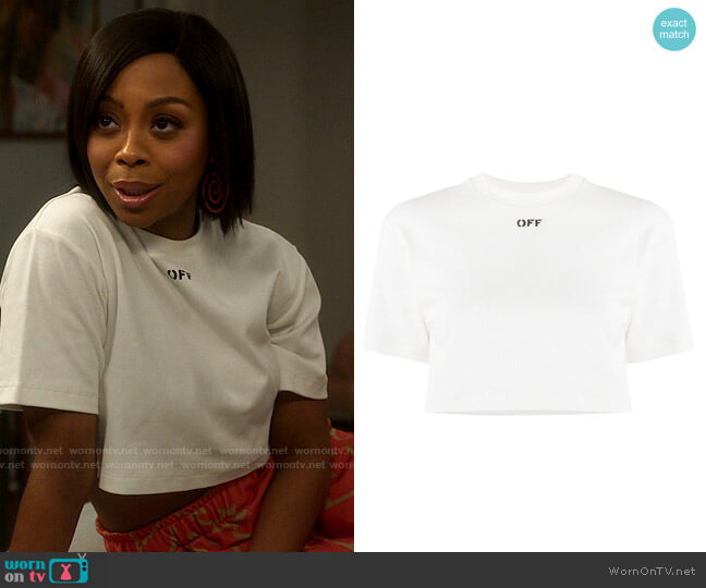 Off White Logo-print cropped T-shirt worn by Renee Ross (Bresha Webb) on Run the World