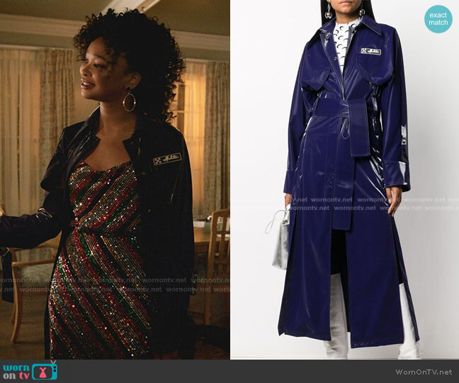 Long Belted Trench Coat by Off-White worn by Monica Colby (Wakeema Hollis) on Dynasty