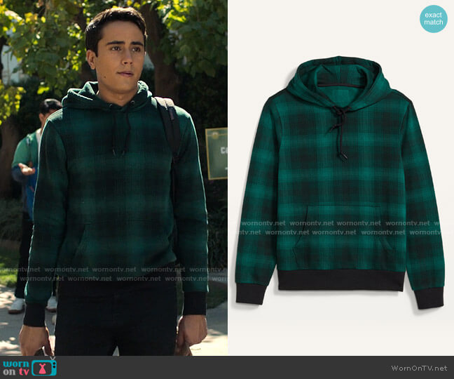 Old Navy Plaid Pullover Hoodie worn by Victor Salazar (Michael Cimino) on Love Victor