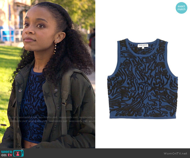 Opening Ceremony Cropped intarsia stretch-knit top worn by Mia Brooks (Rachel Hilson) on Love Victor