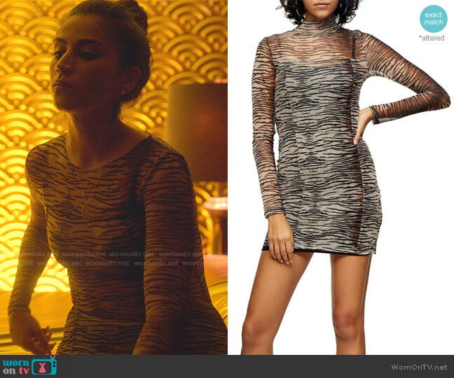 Animal Mesh Mini Long Sleeve Body-Con Dress by Topshop worn by Rebeca (Claudia Salas) on Elite