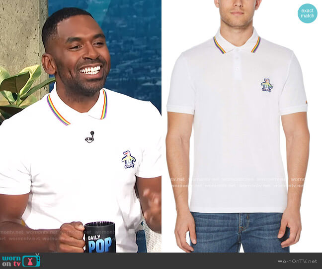 Pride Polo by Original Penguin worn by Justin Sylvester  on E! News