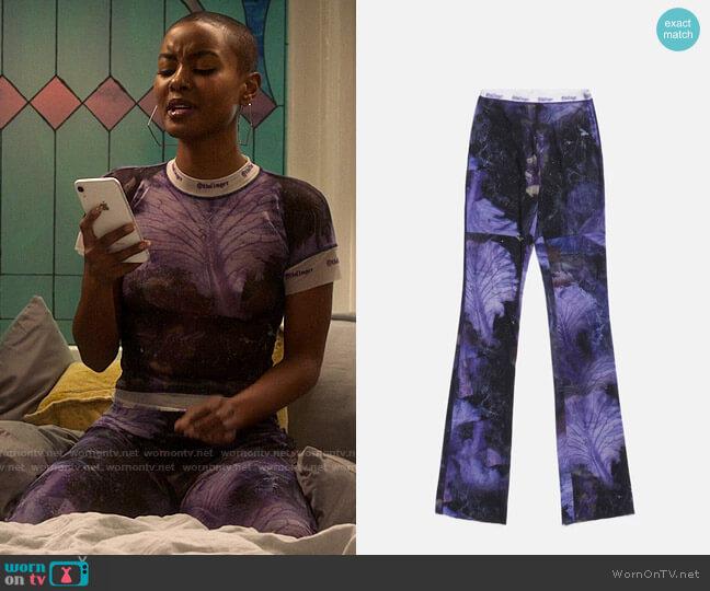 Ottolinger Mesh Pants worn by Ella McFair (Andrea Bordeaux) on Run the World