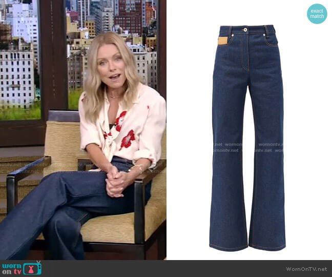Leather-Patch High-Rise Flared Jeans by Paco Rabanne worn by Kelly Ripa  on Live with Kelly & Ryan