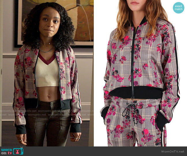 Pam & Gela Floral Plaid Cropped Track Jacket worn by Mia Brooks (Rachel Hilson) on Love Victor