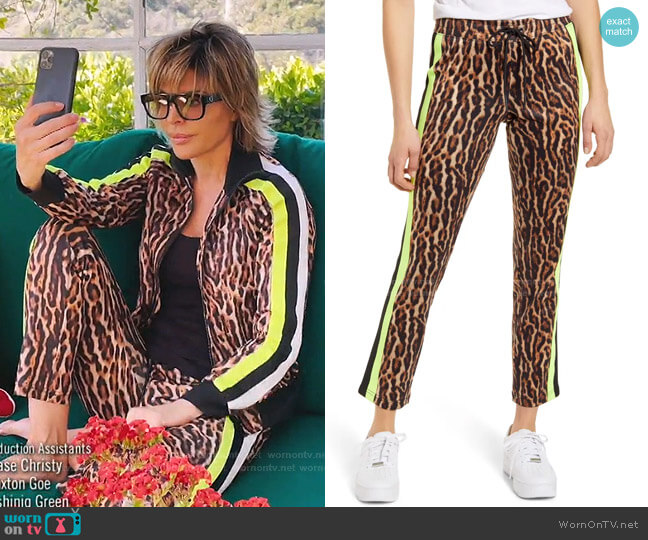 Ocelot Crop Track Pants by Pam & Gela worn by Lisa Rinna  on The Real Housewives of Beverly Hills