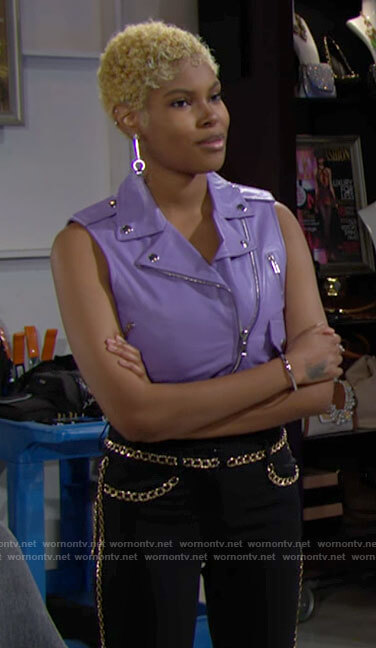 Paris's purple leather moto vest on The Bold and the Beautiful