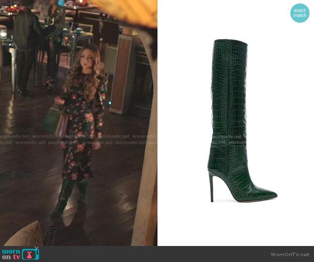 Croco Tall Boot by Paris Texas worn by Fallon Carrington (Elizabeth Gillies) on Dynasty