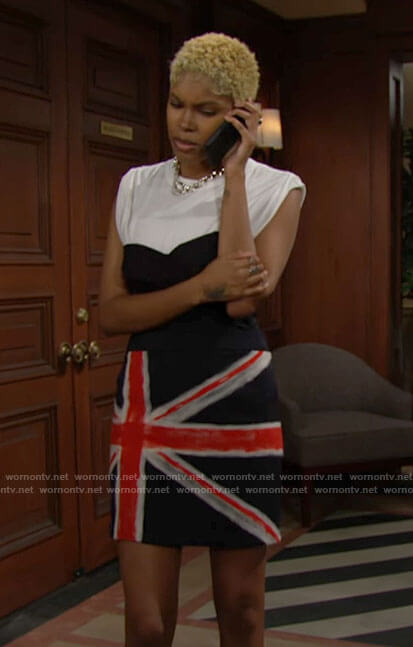Paris's union jack skirt on The Bold and the Beautiful