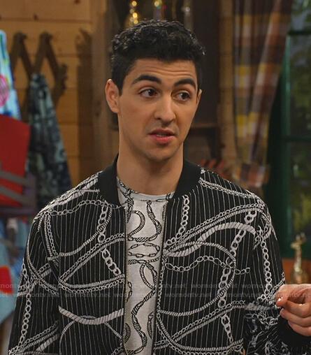 Parker's black striped chain print bomber jacket on Bunkd