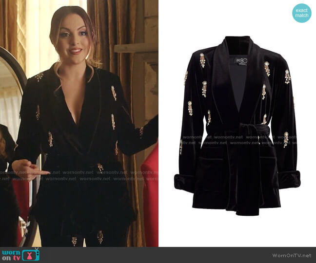 Embellished Beaded Velvet Robe Jacket by Patbo worn by Fallon Carrington (Elizabeth Gillies) on Dynasty