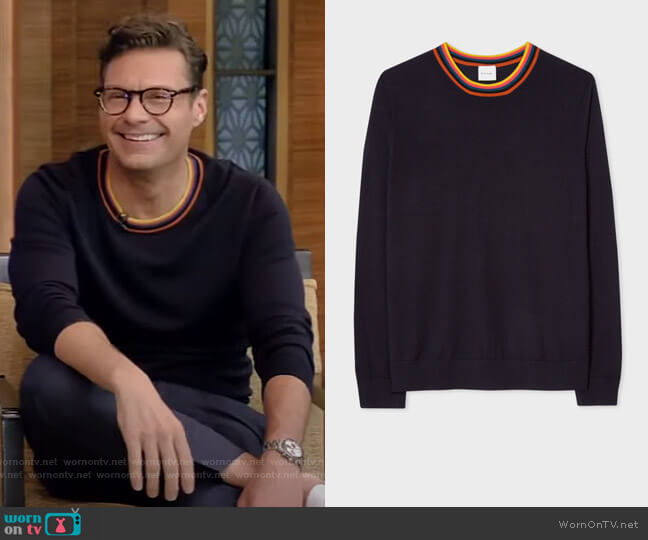 Merino Wool Sweater With Artist Stripe Ribbed Collar by Paul Smith