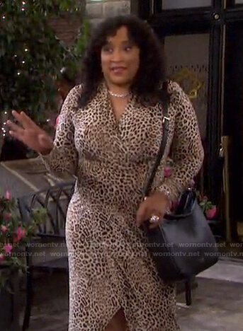 Paulina's leopard surplice dress on Days of our Lives