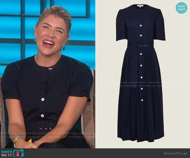 Cotton Poplin Belted Midi Dress by Pearl by Lela Rose worn by Amanda Kloots  on The Talk