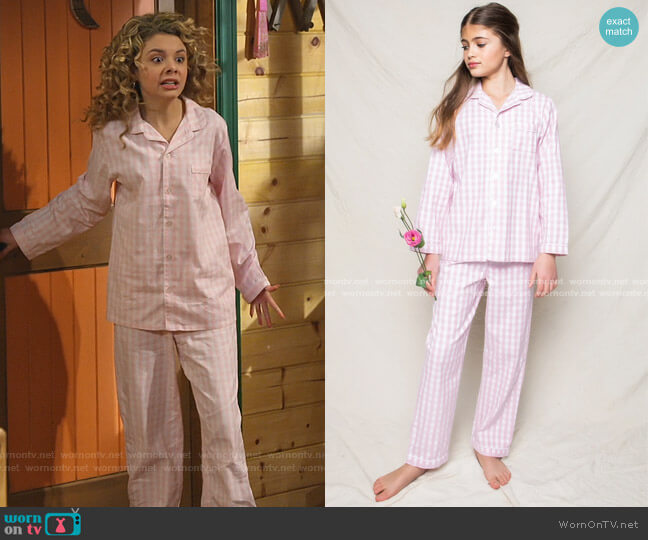 Pink Gingham Pajama Set by Petite Plume worn by Destiny Baker (Mallory James Mahoney) on Bunkd