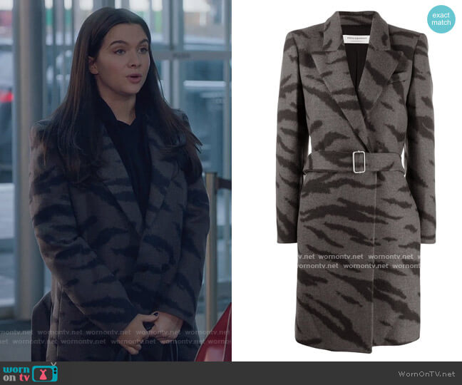 Tiger-print belted coat by Philosophy Di Lorenzo Serafini worn by Jane Sloan (Katie Stevens) on The Bold Type