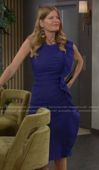 Phyllis's blue side ruffle dress on The Young and the Restless