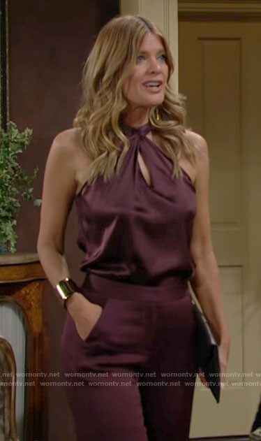 Phyllis's burgundy twist neck top on The Young and the Restless