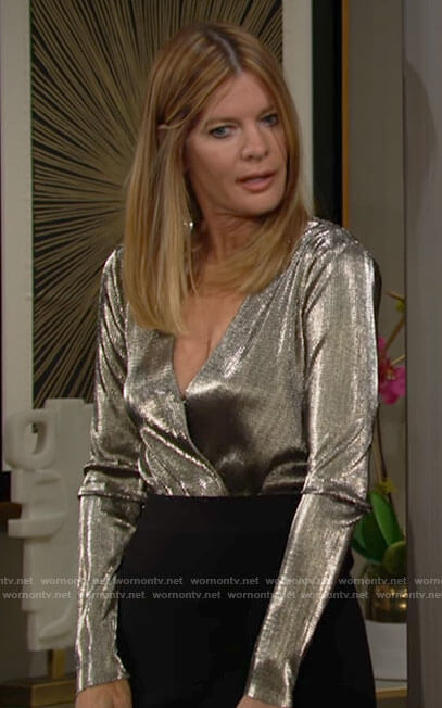 Phyllis's metallic long sleeve top on The Young and the Restless