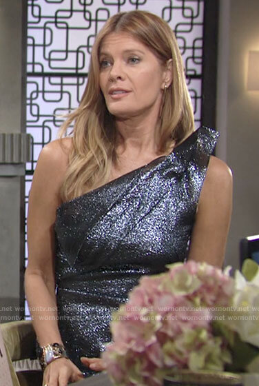 Phyllis's metallic one-shoulder top on The Young and the Restless