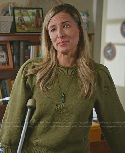 Joanne Radford's green polka dot sweater on Good Witch