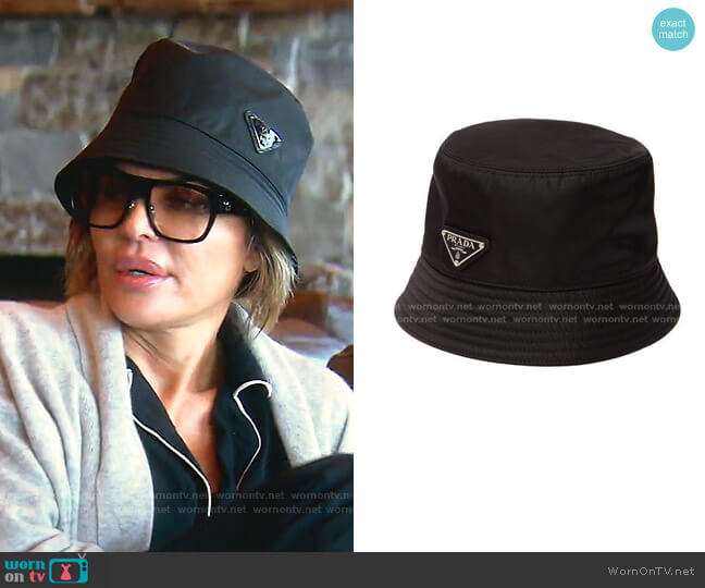 Logo Plaque Bucket Hat by Prada worn by Lisa Rinna  on The Real Housewives of Beverly Hills