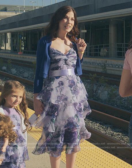 Billie's friends purple floral ruffle dress on Sex/Life