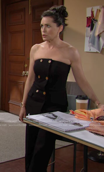 Quinn's black strapless jumpsuit on The Bold and the Beautiful