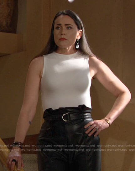 Quinn's leather paperbag waist pants on The Bold and the Beautiful