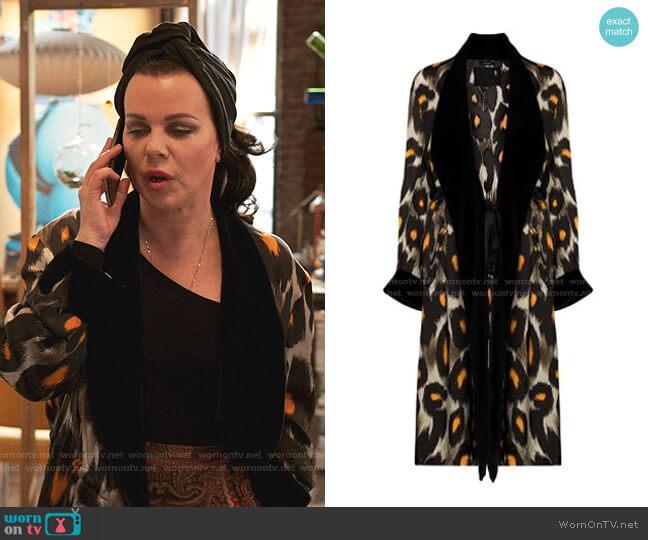 Leopard Print Velvet Trim Robe Jacket by R13 worn by Maggie (Debi Mazar) on Younger