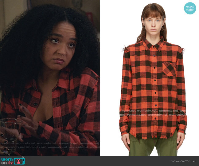 Red Shredded Seam Shirt by R13 worn by Kat Edison (Aisha Dee) on The Bold Type