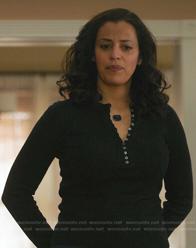 Grace's dark grey henley sweater on Manifest