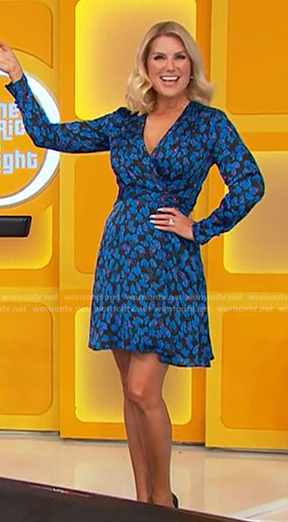 Rachel's blue floral wrap dress on The Price is Right