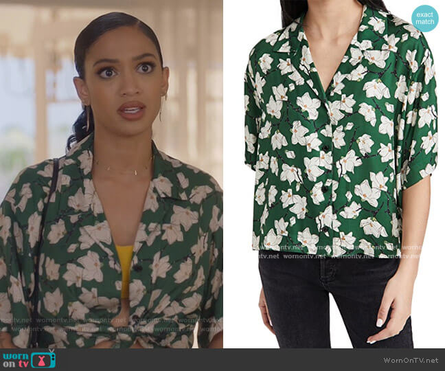 Reed Floral Shirt by Rag & Bone worn by Olivia Baker (Samantha Logan) on All American
