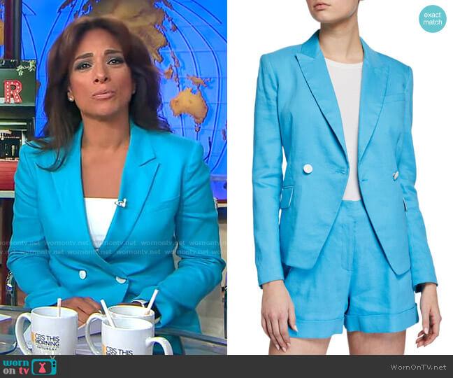 Rag & Bone Fletcher Linen Blazer worn by Michelle Miller  on CBS Mornings