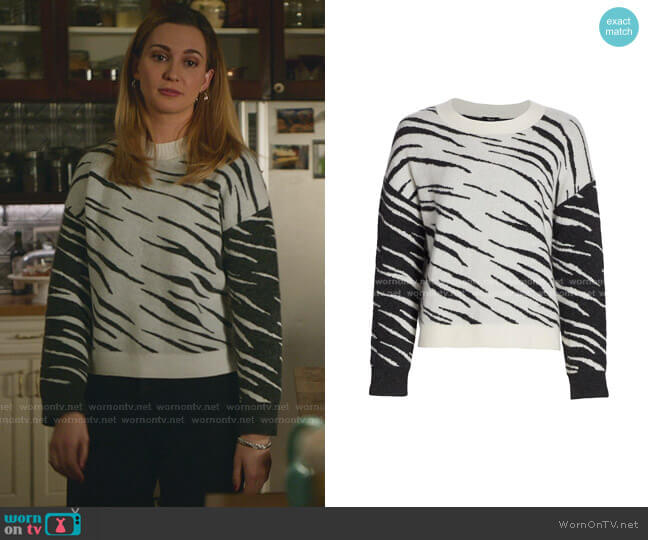 Lana Tiger Stripe Crewneck Sweater by Rails worn by Joy Harper (Katherine Barrell) on Good Witch