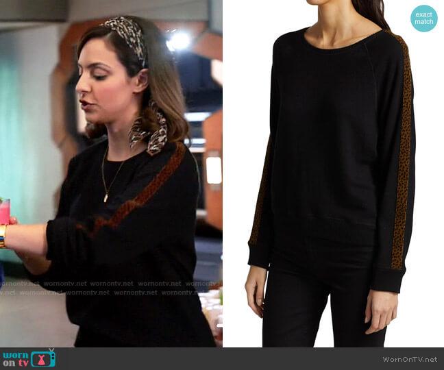 Rails Theo Velvet Leopard Side Stripe Sweatshirt worn by Zari Tomaz (Tala Ashe) on Legends of Tomorrow