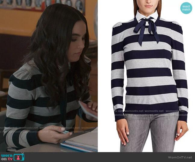 LAUREN Ralph Lauren Collared Cotton Sweater worn by Bella Whitmore (Landry Bender) on The Republic of Sarah