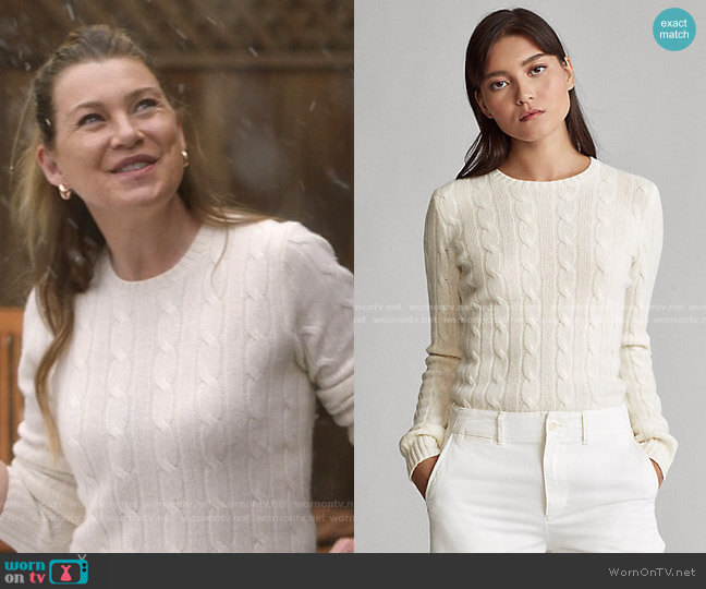 Cable Knit Cashmere Sweater by Polo Ralph Lauren worn by Meredith Grey (Ellen Pompeo) on Greys Anatomy