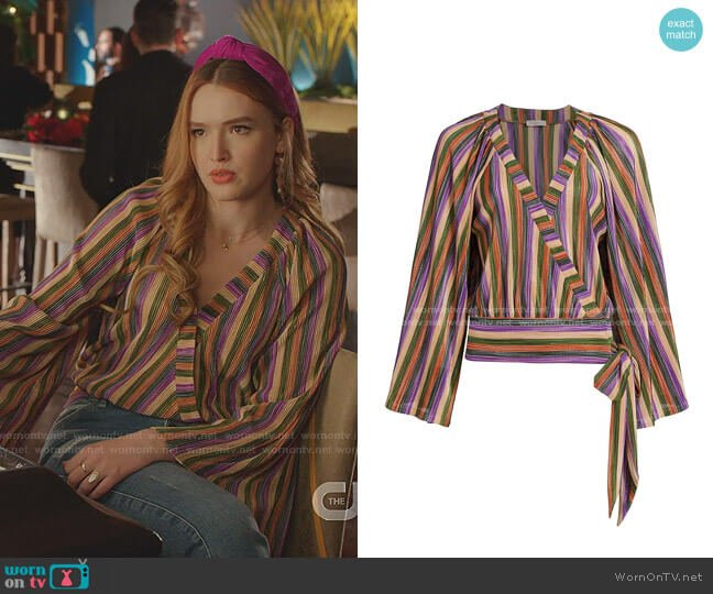 Val Multicolor Stripe Wrap Blouse by Ramy Brook worn by Kirby Anders (Maddison Brown) on Dynasty