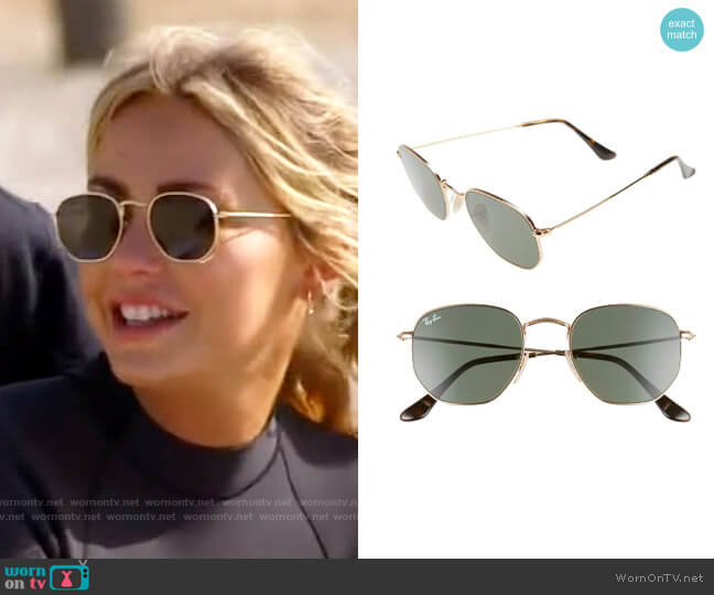 Ray Ban 51mm Hexagonal Flat Lens Sunglasses worn by Amber Davis on The Hills New Beginnings