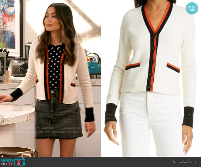 Re/Done 60s Slim Fit Cardigan worn by Carly Shay (Miranda Cosgrove) on iCarly