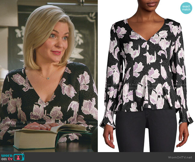 Ikat Blossom Stretch-Silk Blouse by Rebecca Taylor worn by Stephanie Borden (Kylee Evans) on Good Witch