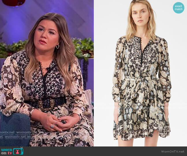 Print Mix Clip Dress by Rebecca Taylor worn by Kelly Clarkson  on The Kelly Clarkson Show