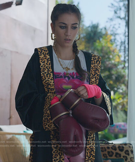 Rebeca's leopard trim robe and heaven graphic top on Elite
