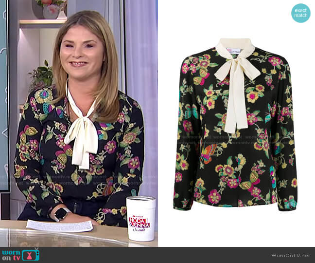 Floral-Print Blouse by RED Valentino worn by Jenna Bush Hager  on Today