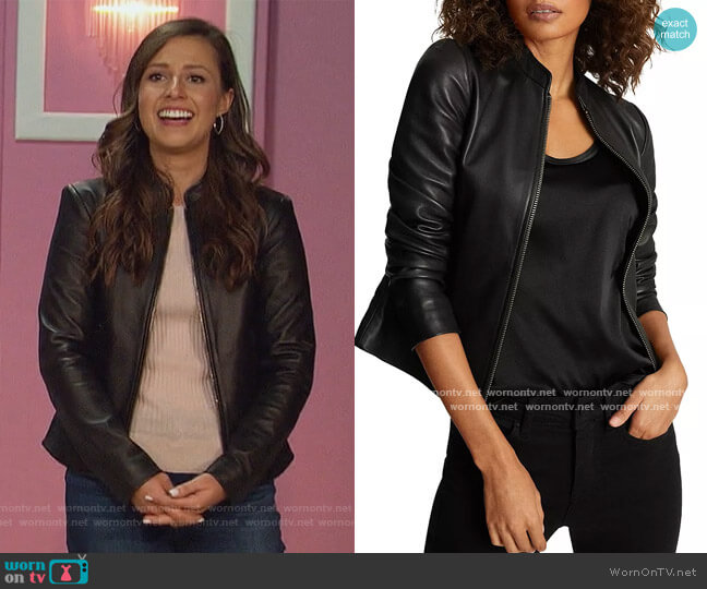 Allie Leather Moto Jacket by Reiss worn by Katie Thurston  on The Bachelorette