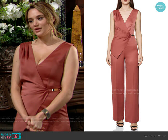 Reiss Vita Asymmetric Jumpsuit worn by Summer Newman (Hunter King) on The Young & the Restless